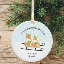 Ceramic Grandad/Grandma Keepsake Christmas Decoration - Fox Design